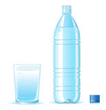 Bottle of clean water and glass with splashing iso royalty free illustration