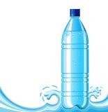 Bottle of clean water and splashing background .Ve vector illustration