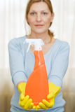 Bottle of cleanser - take it Royalty Free Stock Images