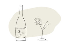 Bottle and coctail glass. Hand-drawn vector illustration of bottle and cocktail glass Stock Photo