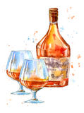 Bottle of cognac and glasses. royalty free illustration