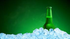 Bottle of cold beer in ice Royalty Free Stock Photography