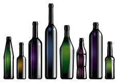 Bottle collection. Vector collection of wine beer and champagne bottles on white background Royalty Free Stock Image
