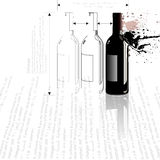 Bottle_collision. A bottle in outline and fully rendered in a splashy technical style Stock Image