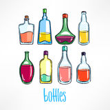 Bottle with colorful beverages Stock Photography