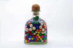 Bottle of Colorful Gumballs Stock Photos