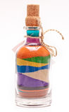 Bottle with colorful sand Stock Photography