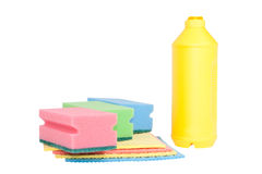 Bottle, colorful sponges isolated on white Stock Photos