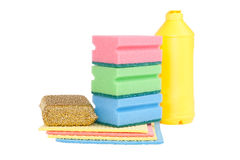 Bottle, colorful sponges isolated on white Stock Photo