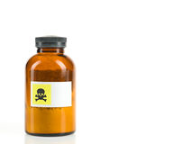 Bottle containing toxic powder Stock Photos