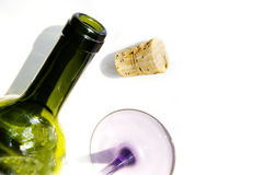 Bottle Cork Glass. Wine glass, bottle and cork from above on white Stock Photo