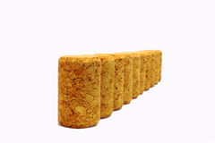 Bottle Corks 1. Bottle corks lined up in a row royalty free stock image