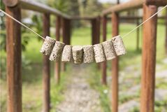 Bottle Corks. Hanged decoratively in the garden Stock Photo