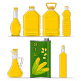 Bottle corn Oil. Vector illustration logo for set yellow glass bottle Corn Oil,plastic bottles with cap,iron jar maize oil,metal container natural organic liquid Royalty Free Stock Images