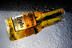 Bottle of Corona beer. Wet bottle of corona beer on a reflective surface. drops of water on the mirror and reflection of the beer bottle royalty free stock photos