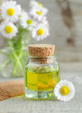 Bottle of cosmetic chamomile oil and wooden hair comb Stock Photos