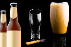 Bottle craft beer set isolated on black background Stock Photos