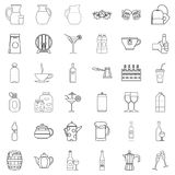 Bottle crate icons set, outline style Royalty Free Stock Photography