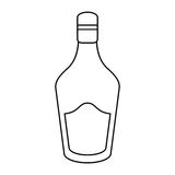 Bottle cream whiskey liqueur icon outline. Drink vector illustration eps 10 Stock Photography