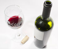 A bottle and a cup of wine Stock Photo