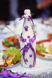 Bottle decorated for wedding purple flower Royalty Free Stock Image