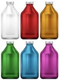 Bottle design in six colors Stock Photo