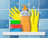 Bottle of detergent, sponge and rubber gloves. royalty free illustration