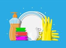 Bottle of detergent, sponge and rubber gloves. vector illustration