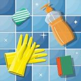 Bottle of detergent sponge soap and rubber gloves vector illustration