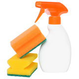 Bottle of detergent with two cleaning sponge Royalty Free Stock Images