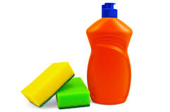 Bottle of detergent and two sponges Stock Photos