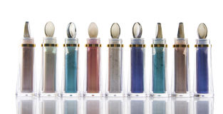 Bottle with different colors of cosmetics Stock Photography