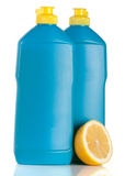 Bottle of dishwashing detergent with lemon  on white background Royalty Free Stock Photography