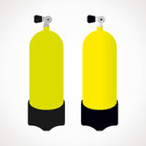 Bottle diving. Diving cylinder. yellow color. vector format Royalty Free Stock Photography