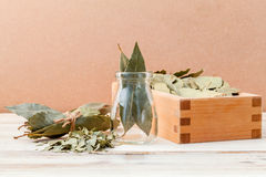 Bottle of dried bay leaves and wooden box with selective focus o Royalty Free Stock Photos