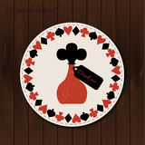 Bottle - drink coaster from Wonderland on Wooden Background. Printable Vector Illustration for Graphic Projects, Parties and the Internet Stock Photos