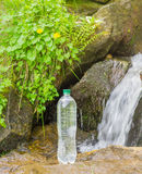 Bottle of drinking water on the background of mountain stream Stock Photo