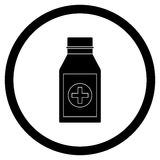 Bottle with drug black icon vector Stock Image