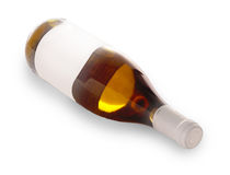 Bottle dry light wine on the white Stock Image