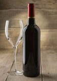 Bottle of dry red wine a gla Royalty Free Stock Photos