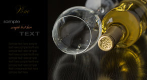 Bottle of dry white wine. On a dark background Royalty Free Stock Photos