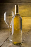 Bottle of dry white wine Stock Images