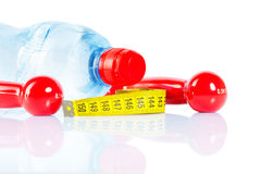 Bottle dumbbells and tape  Stock Image