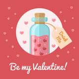 The bottle with the elixir of love. Valentine s day card Be my Valentine. Flat design. Vector illustration Royalty Free Stock Photography