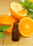 bottle of essence oil and  oranges Royalty Free Stock Photography