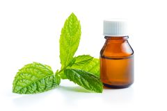 Bottle of essential mint oil. Bottle of essential mint oil isolated on white background royalty free stock photo