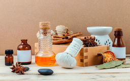 Bottle of essential oil with cinnamon stick ,star anise ,bay lea Royalty Free Stock Photography