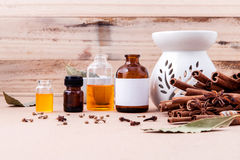 Bottle of essential oil with cinnamon stick ,star anise and bay Stock Photos
