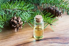A bottle of essential oil with Douglas fir branches Stock Photo