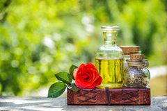 A bottle of essential oil and dried herbs. Spa care and aromatherapy. Copy space. Set for Spa treatments. A bottle of essential oil and dried herbs. Spa care stock photography